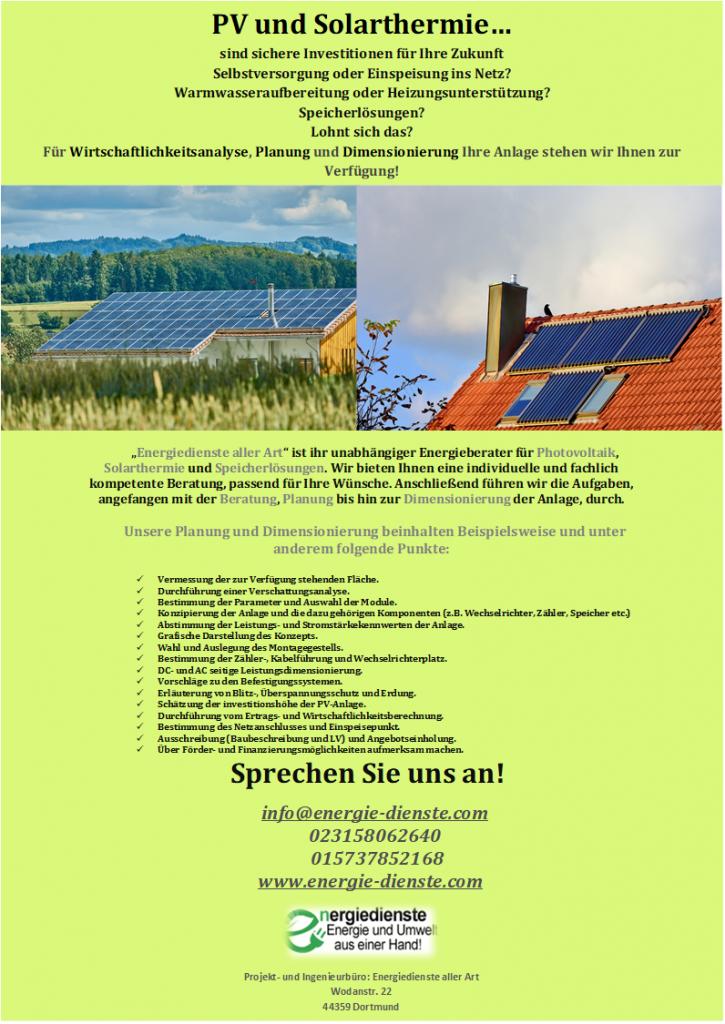 PV-anlagen und Solarathermie auf dem Dach